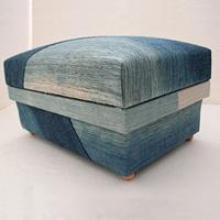 5KS 大井川葛布で織り上げた布に、琉球藍染で染め出したスカーフを使用