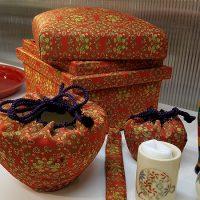 愛用の茶道具と共布で制作しました。