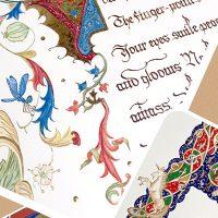 装飾写本の魅力ににふれながらたくさんの書体で作品が作れます