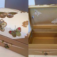 卒業作品。蝶々の刺繍のフランス生地、飾りはグルーデコで制作。