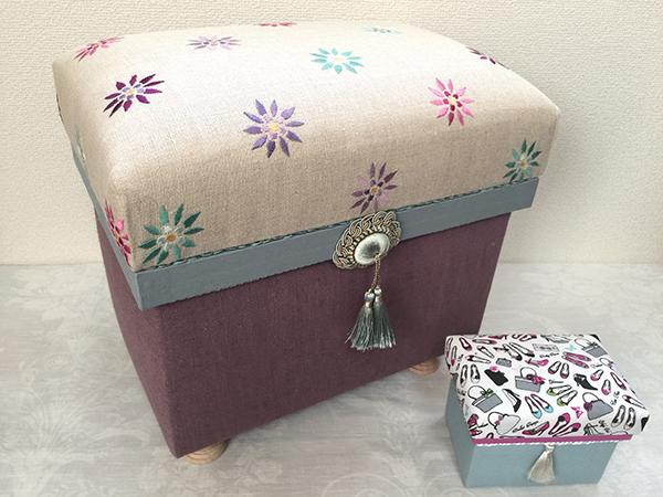 10年以上も眺めながら保有していたリバティのリネン刺繍生地が茶箱になりました。 反対色でコントラストある色使い。