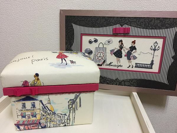 パリの雰囲気の生地、刺繍にマドモアゼルのセンスを込めて額装と茶箱に仕立てました。